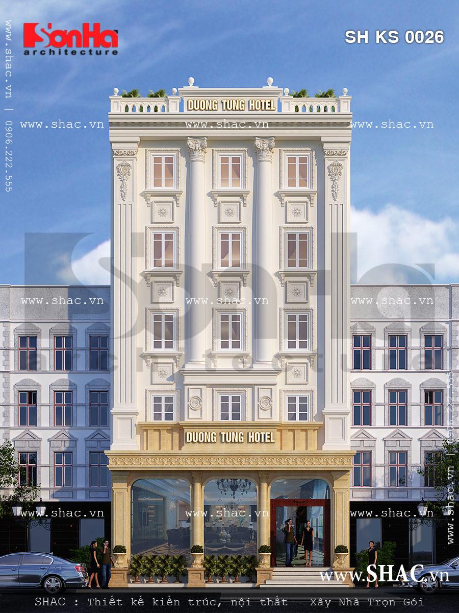 Cận cảnh kiến trúc mặt tiền của mẫu thiết kế khách sạn kiến trúc pháp tiêu chuẩn 2 sao đẹp tại Cô Tô