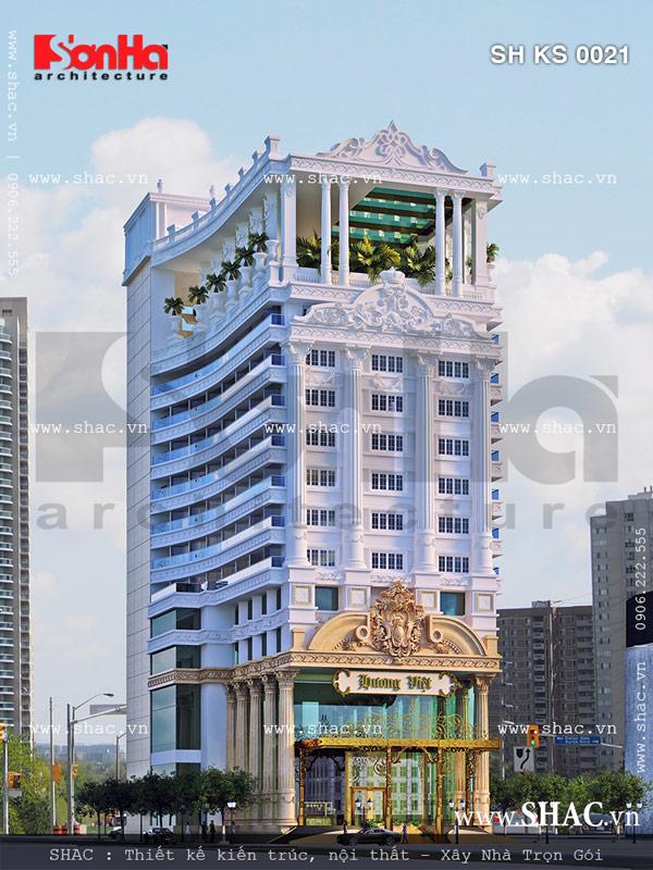Toàn cảnh kiến trúc mặt tiền khách sạn kiểu Pháp sang trọng hạ gục mọi ánh nhìn