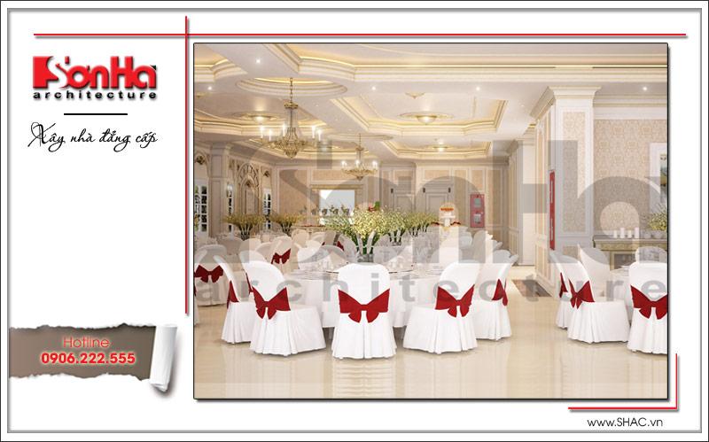Không gian phòng ăn mang nhiều phong cách khác nhau, thể hiện sự chu đáo và tính thẩm mỹ cao của chủ đầu tư trong khu ăn uống này
