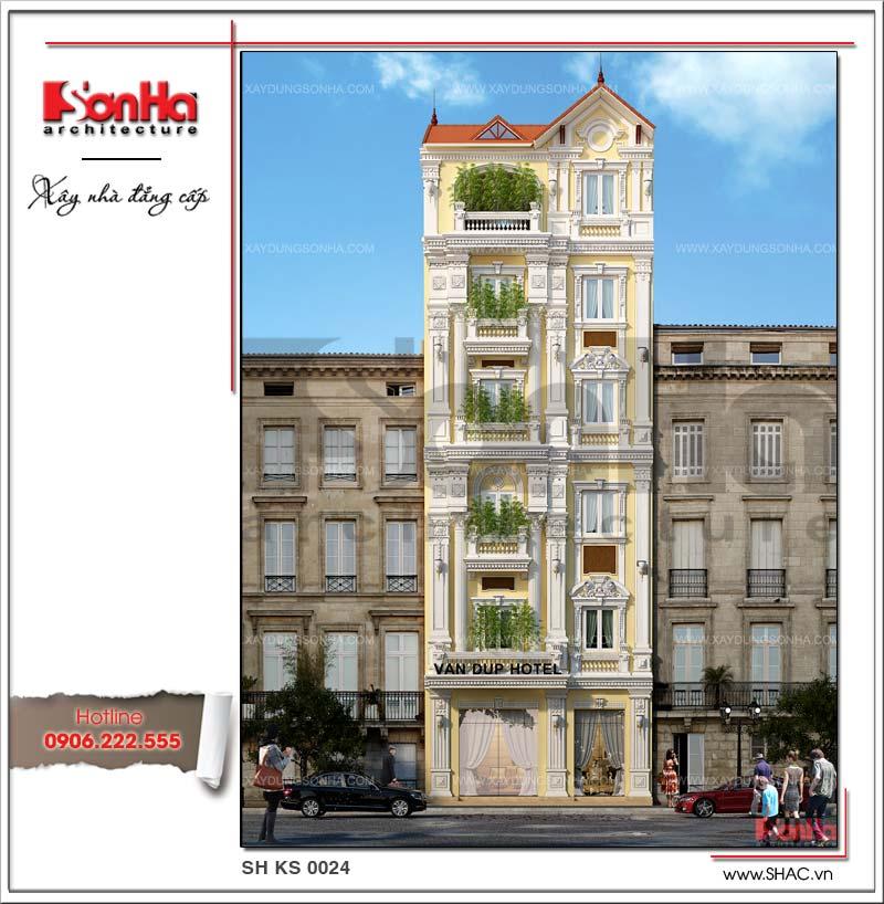 Ấn tượng với mặt tiền khách sạn mini tiêu chuẩn 2 sao 6 tầng đẹp và tiện nghi tại Hà Giang kết hợp cây xanh thân thiện với môi trường