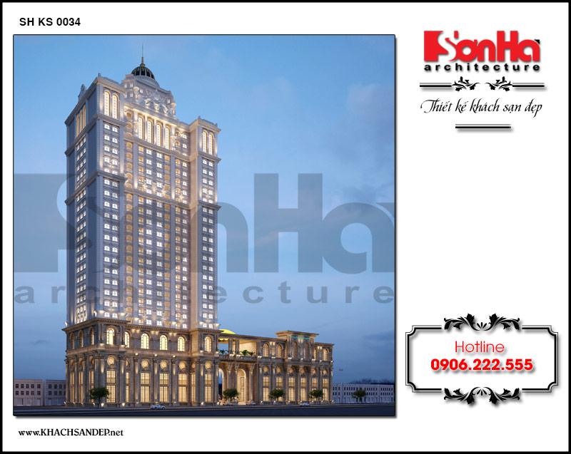 Tổng quan không gian đồ sộ của mẫu thiết kế khách sạn 4 sao 26 tầng mê hoặc mọi người ngay từ ánh nhìn đầu tiên