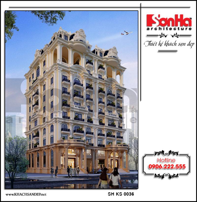 Toàn cảnh không gian kiến trúc mặt tiền khách sạn cao cấp 4 sao có thiết kế tinh tế đến từng tiểu tiết chinh phục mọi ánh nhìn