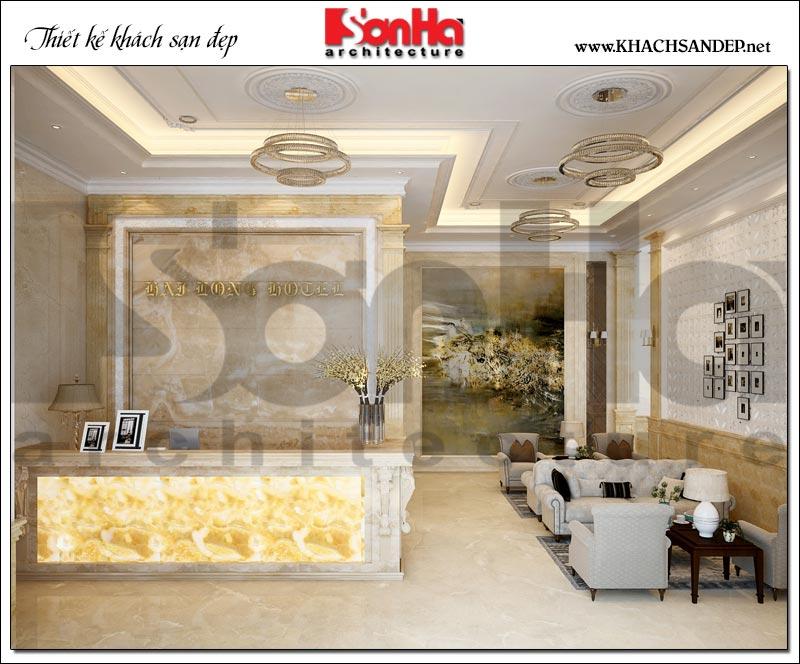 Mẫu thiết kế sảnh lễ tân khách sạn tân cổ điển tiêu chuẩn 3 sao tại Vũng Tàu