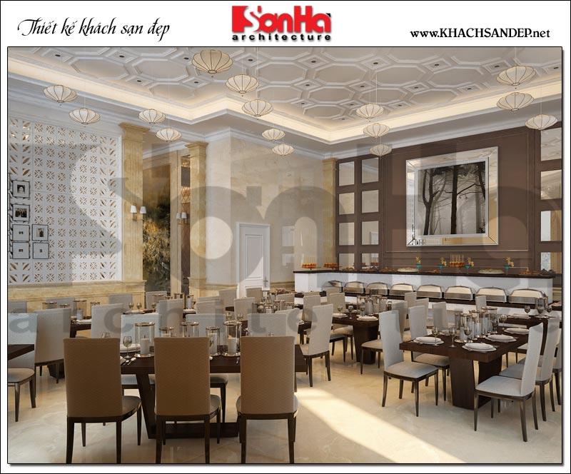 Thiết kế nội thất khu buffet khách sạn được khoa học và tiện dụng cho khách hàng