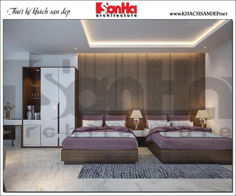 Mẫu phòng ngủ khách sạn 3 sao đẹp với 2 giường đôi tiện dụng phù hợp với nhu cầu nghỉ dưỡng của cả gia đình