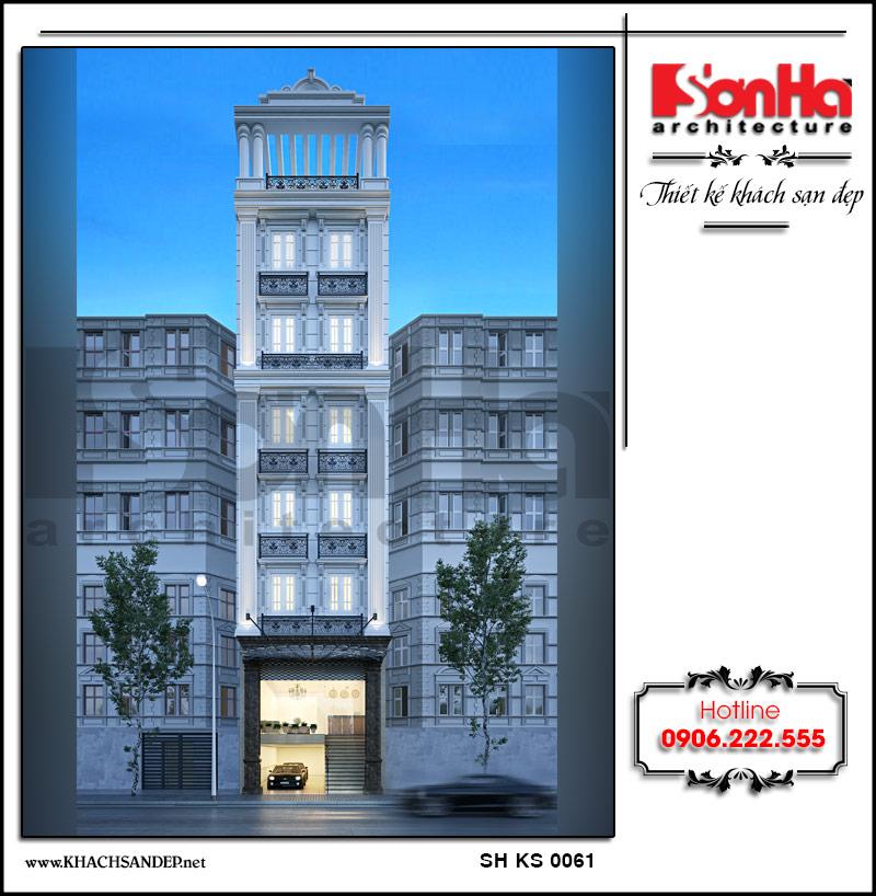 Thiết kế khách sạn mini 8 tầng kiến trúc tân cổ điển nhẹ nhàng, thanh thoát tại Nam Định