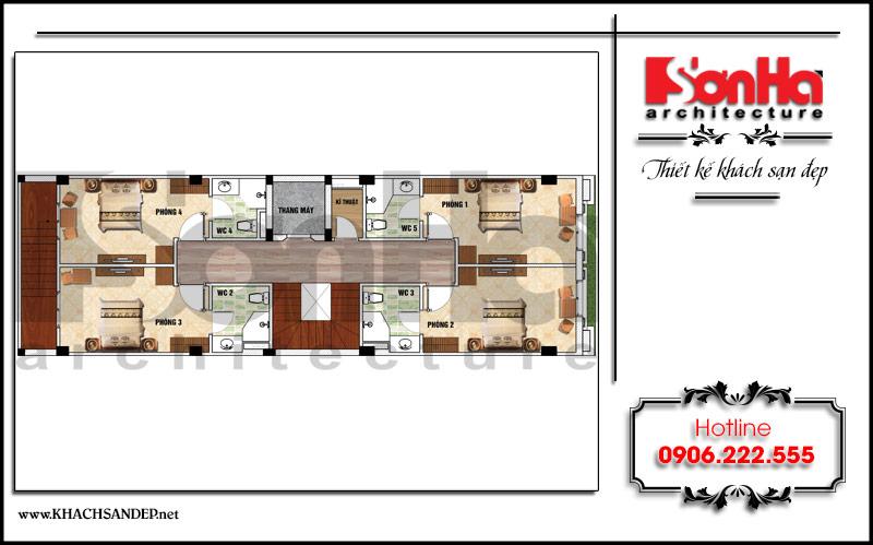 6 Mặt bằng công năng tầng 3 4 5 6 khách sạn mini đẹp tại nam định sh ks 0061