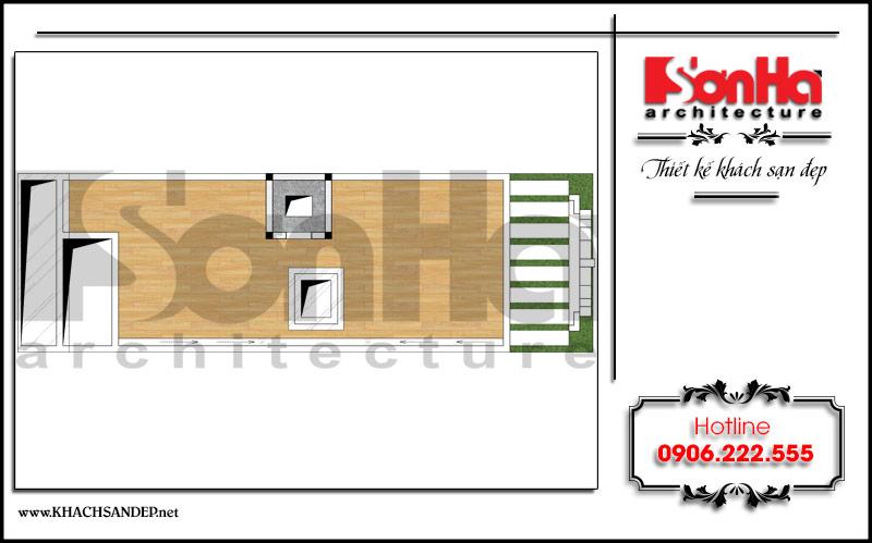 Mặt bằng công năng tầng tum khách sạn mini tân cổ điển đẹp tại Nam Định