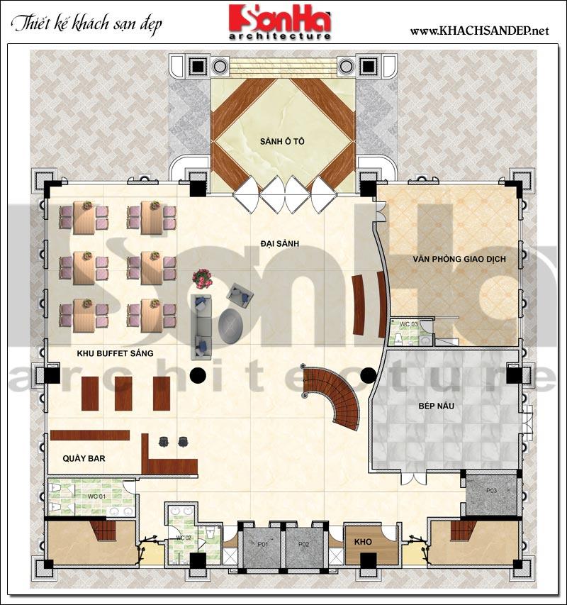 Phương án bố trí mặt bằng công năng tầng trệt khách sạn tân cổ điển 4 sao tại An Giang