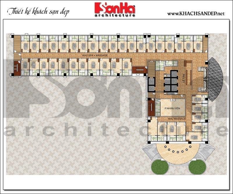 Bản vẽ chi tiết mặt bằng công năng tầng 3 trung tâm thương mại, khách sạn 5 sao diện tích 2.420m2 tại Đồng Tháp