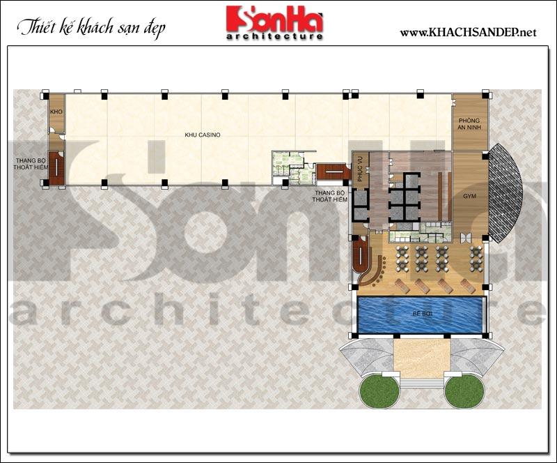 Bản vẽ chi tiết mặt bằng công năng tầng 4 trung tâm thương mại, khách sạn 5 sao diện tích 2.420m2 tại Đồng Tháp