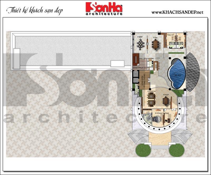 Bản vẽ chi tiết mặt bằng công năng tầng áp mái trung tâm thương mại, khách sạn 5 sao diện tích 2.420m2 tại Đồng Tháp
