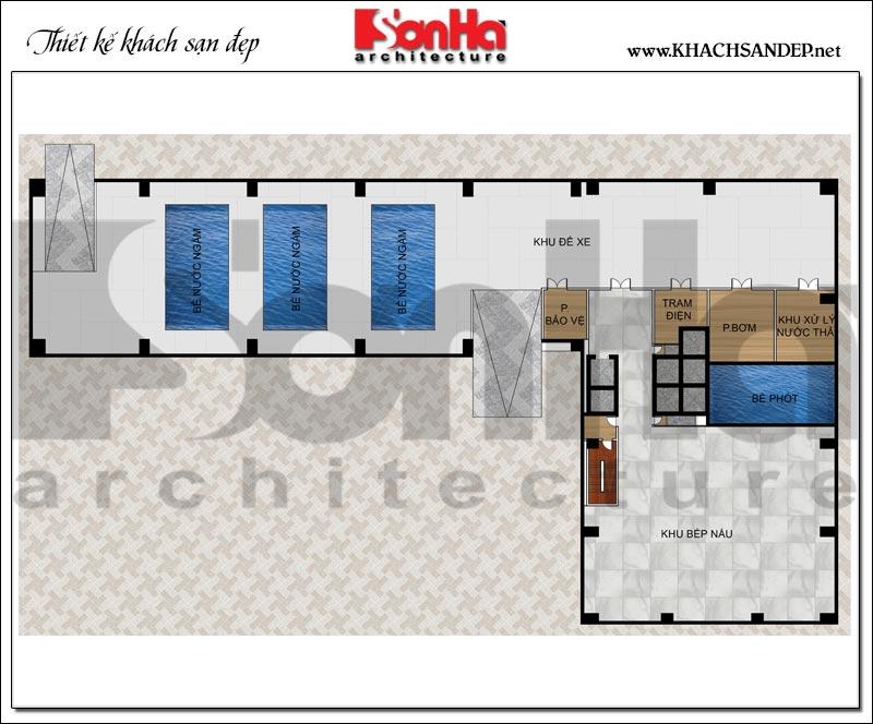 Bản vẽ chi tiết mặt bằng công năng tầng hầm trung tâm thương mại, khách sạn 5 sao diện tích 2.420m2 tại Đồng Tháp
