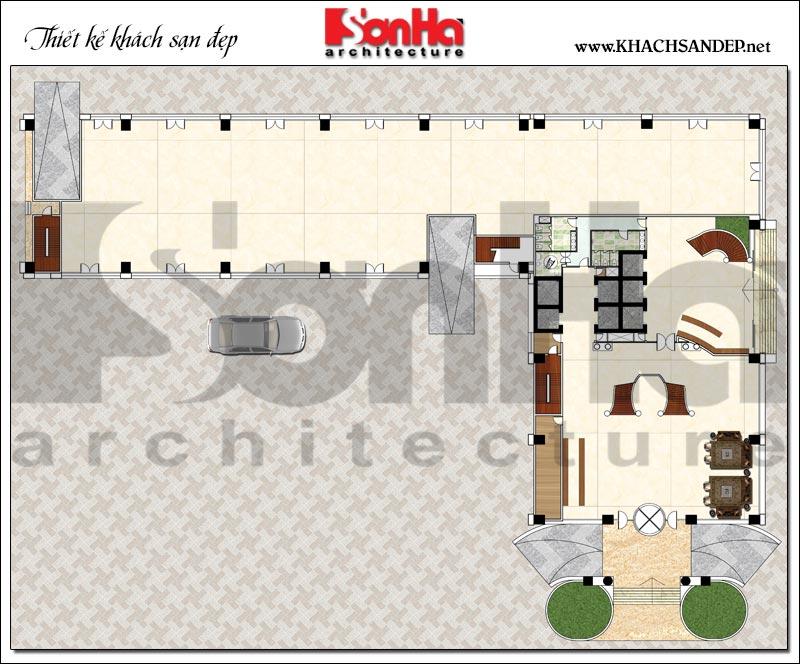 Bản vẽ chi tiết mặt bằng công năng 1 hầm trung tâm thương mại, khách sạn 5 sao diện tích 2.420m2 tại Đồng Tháp