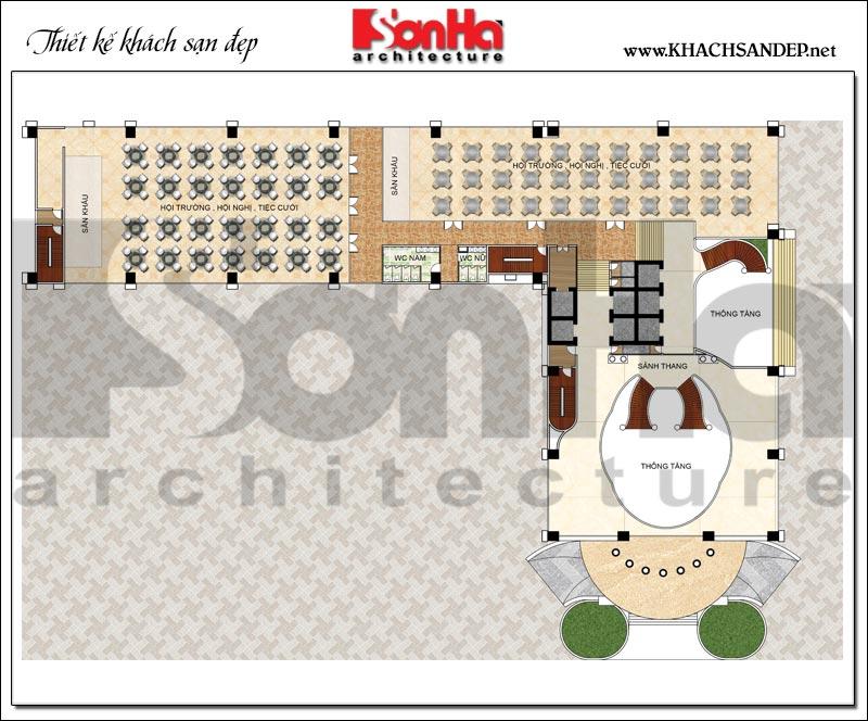 Bản vẽ chi tiết mặt bằng công năng tầng 2 trung tâm thương mại, khách sạn 5 sao diện tích 2.420m2 tại Đồng Tháp
