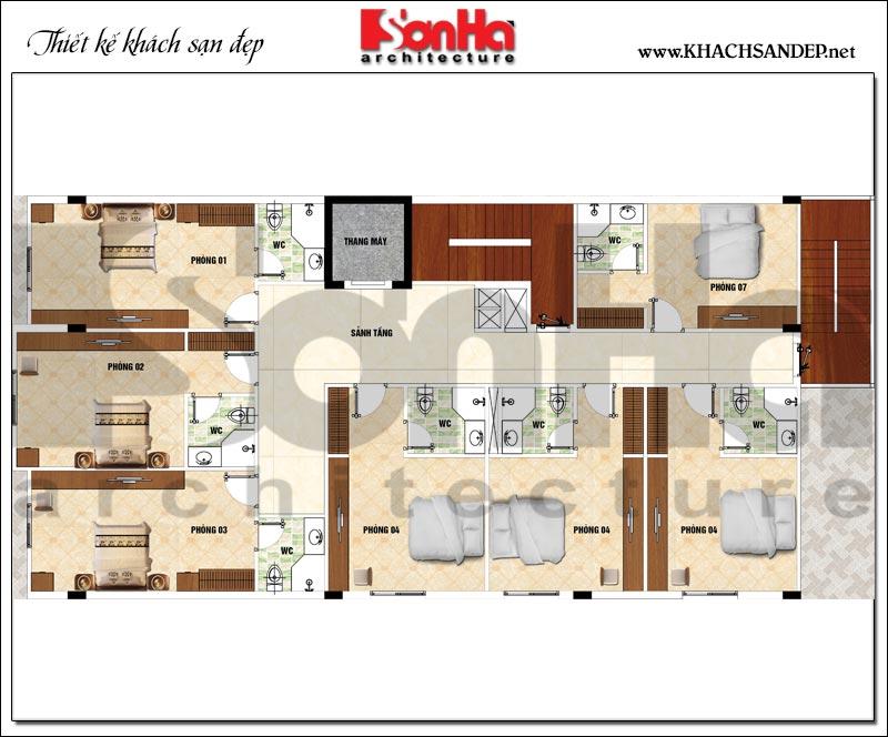 Phương án bố trí công năng tầng 2,3,4 khách sạn mini 2 sao diện tích 275m2 tại Phú Thọ