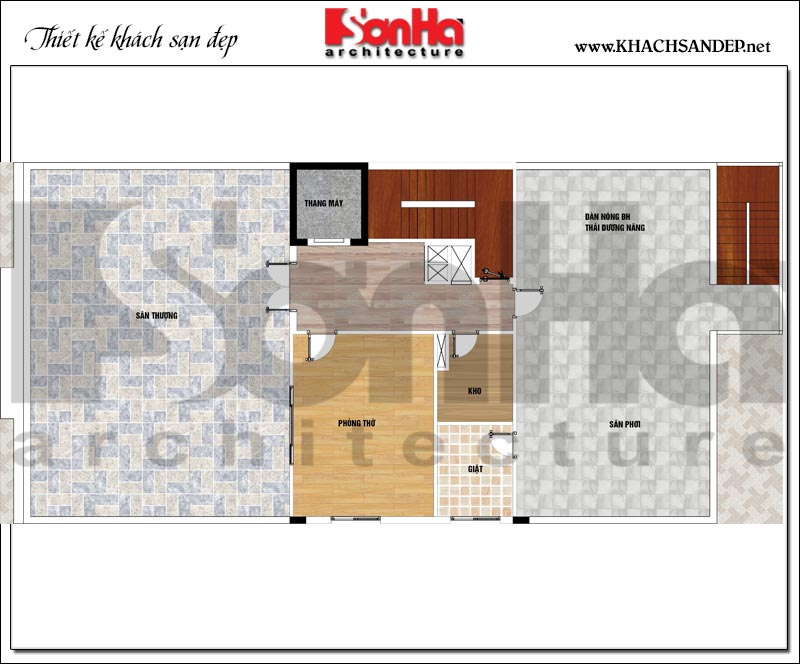 Phương án bố trí công năng tầng mái khách sạn mini 2 sao diện tích 275m2 tại Phú Thọ