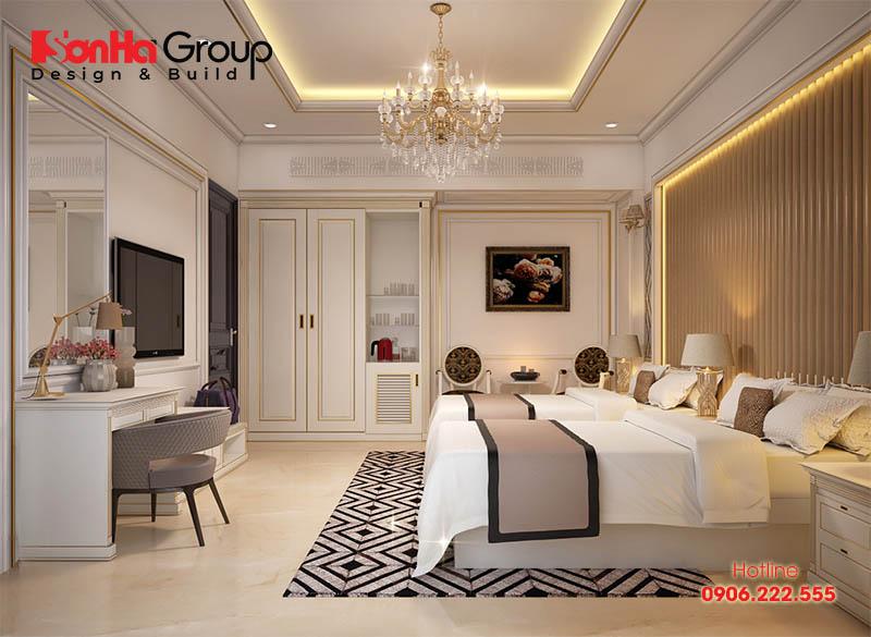 Thiết kế nội thất phòng ngủ khách sạn 3 sao sang trọng và phong thủy