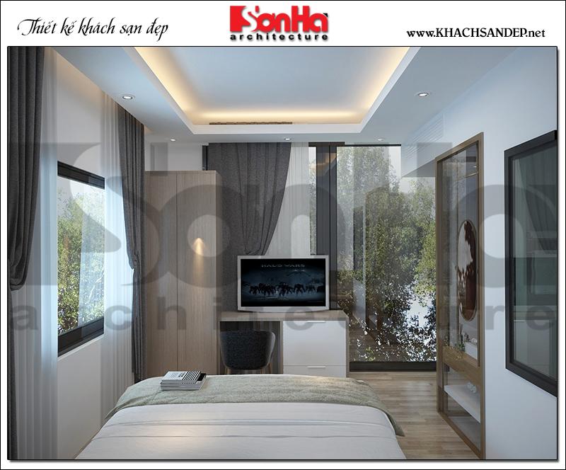 Không gian phòng ngủ có thiết kế nội thất tiêu chuẩn 2 sao sang trọng của khách sạn tại Bình Dương