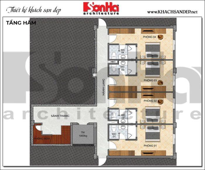 3 Mặt bằng tầng hầm khách sạn hiện đại 2 sao tại quảng ninh sh ks 0076
