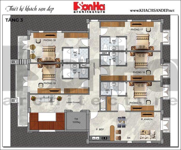 6 Bản vẽ tầng 3 khách sạn hiện đại 3 tầng tại quảng ninh sh ks 0076