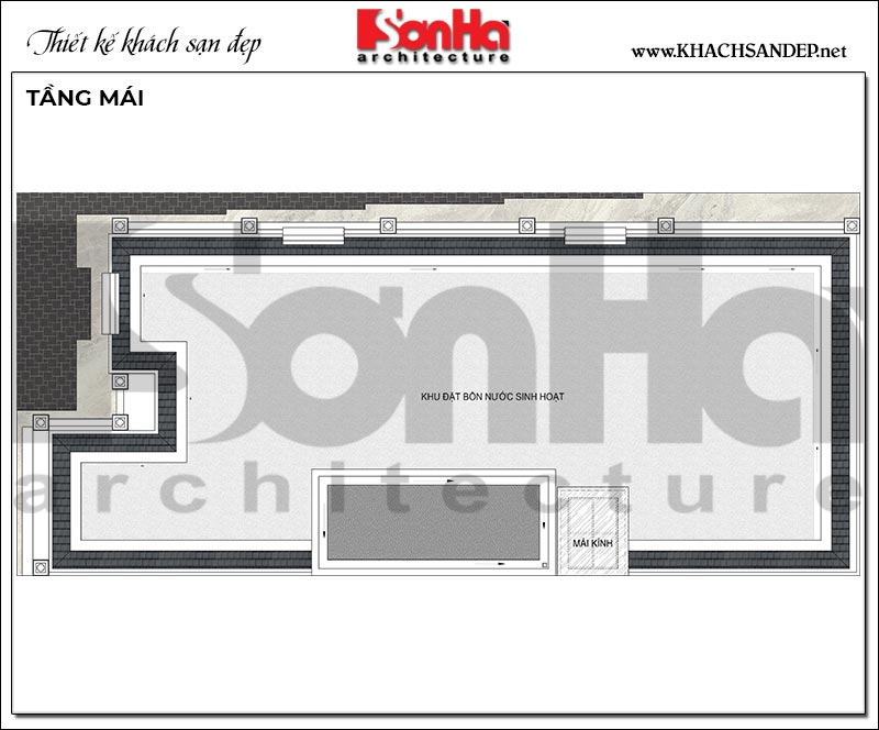 Mặt bằng công năng tầng mái khách sạn 4 tầng tân cổ điển tiêu chuẩn mini 2 sao