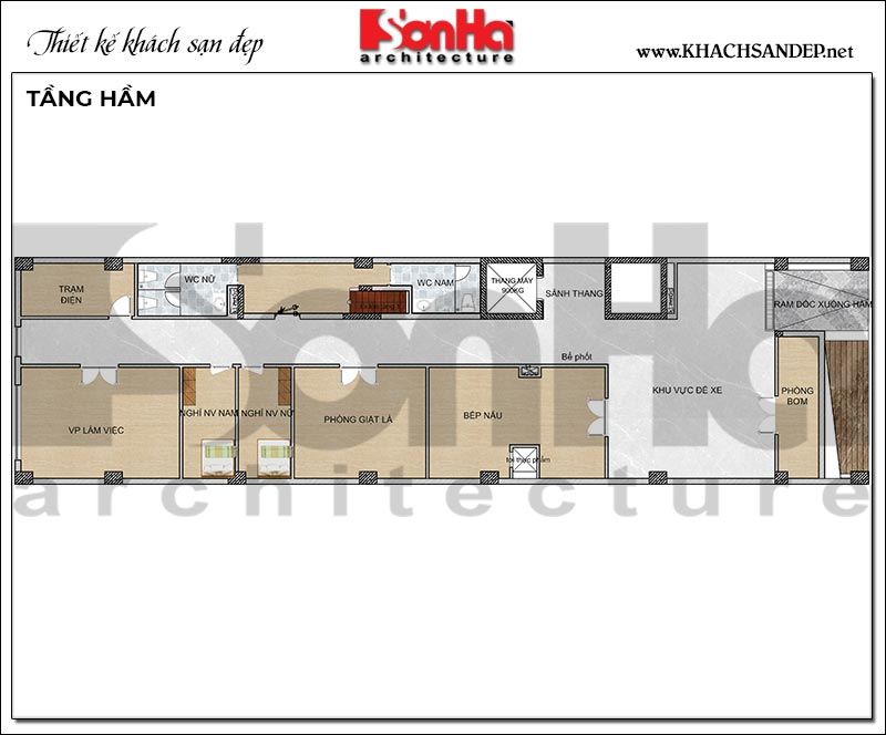 4 Mặt bằng tầng hầm khách sạn kiểu hiện đại tại hải phòng sh ks 0080