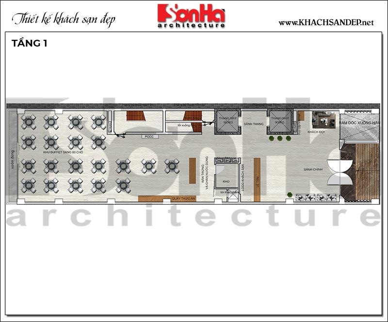 5 Bản vẽ tầng 1 khách sạn hiện đại mặt tiền 9m tại hải phòng sh ks 0080