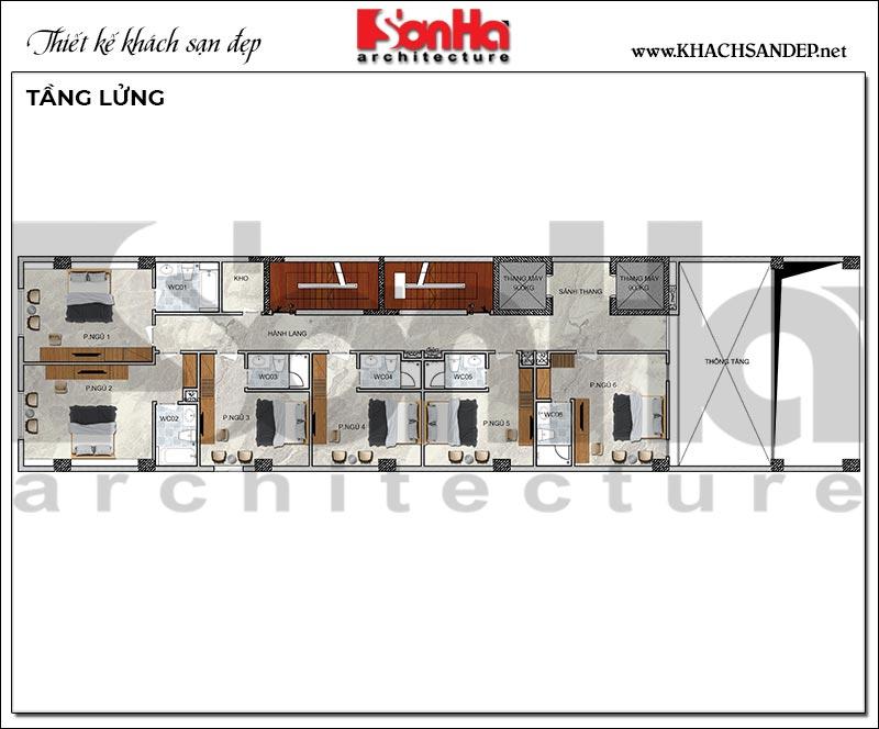 6 Mặt bằng tầng lửng khách sạn hiện đại 10 tầng tại hải phòng sh ks 0080