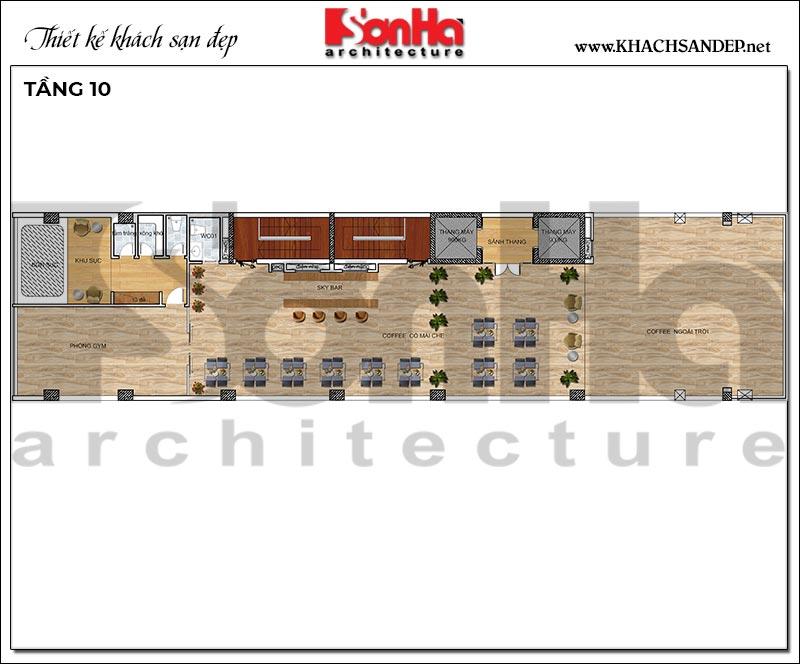 9 Bản vẽ tầng 10 khách sạn hiện đại mặt tiền 9m tại hải phòng sh ks 0080