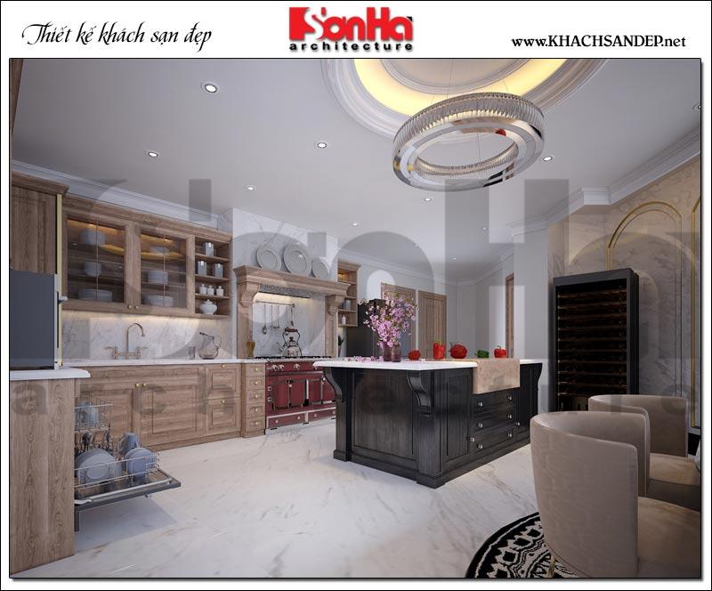 Phòng khách bếp khách sạn tân cổ điển được thiết kế đạt chuẩn 3 sao
