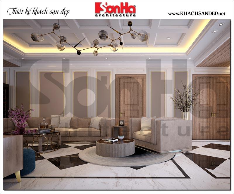 Thêm một góc view cho thấy sự ấm cùng và nhẹ nhàng của không gian phòng khách bếp khách sạn 3 sao tại Vũng Tàu