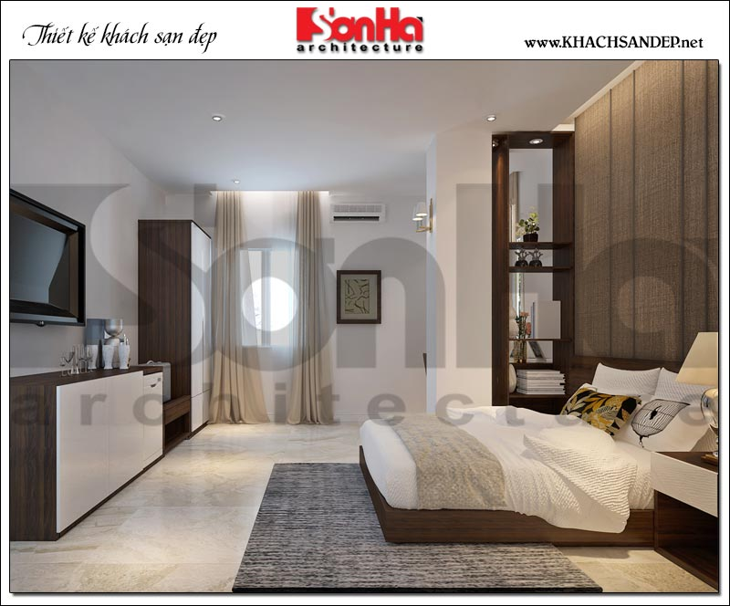 Không gian nội thất phòng ngủ của khách sạn tiêu chuẩn 3 sao phong cách tân cổ điển, ấm cúng với màu sắc nhẹ nhàng