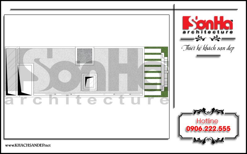 Mặt bằng công năng tầng mái khách sạn mini tân cổ điển đẹp tại Nam Định