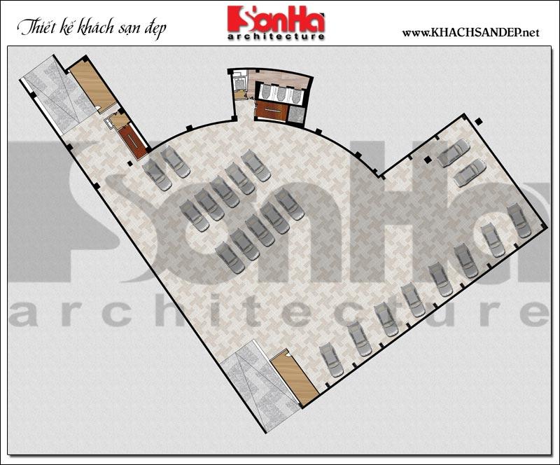 Chi tiết mặt bằng công năng tầng hầm khách sạn tân cổ điển tiêu chuẩn 5 sao tại Phú Yên