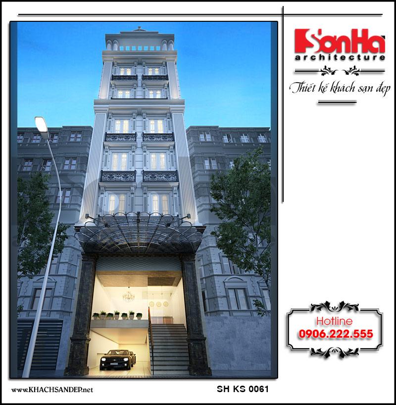 Kiến trúc mặt tiền khách sạn mini mang phong cách tân cổ điển với những đường nét duyên dáng thu hút mọi ánh nhìn