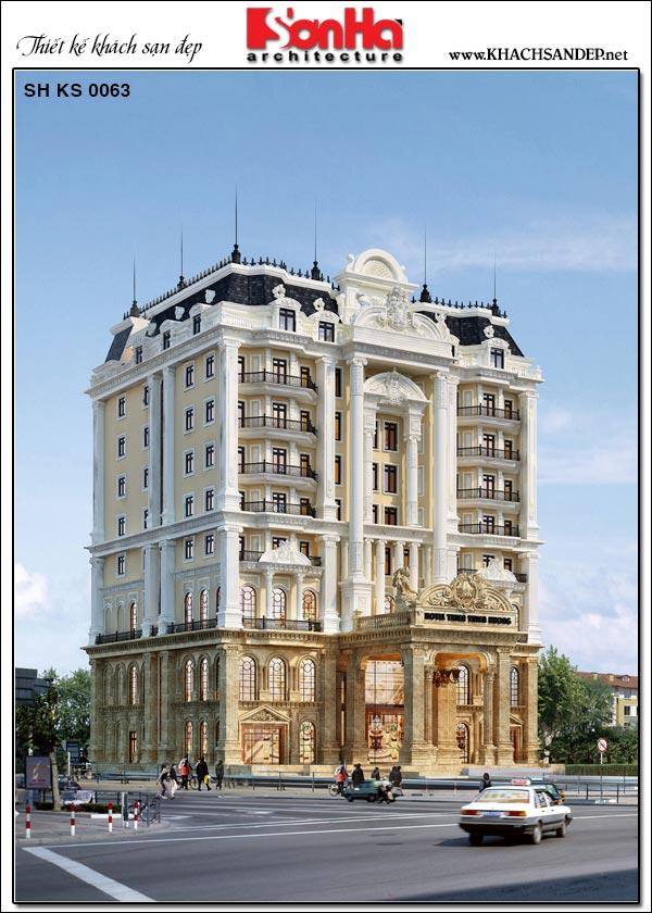 Mẫu khách sạn tân cổ điển tiêu chuẩn 4 sao 9 tầng tại An Giang do SHAC đảm nhiệm thiết kế