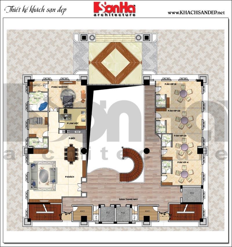 Phương án bố trí mặt bằng công năng tầng lửng khách sạn tân cổ điển 4 sao tại An Giang