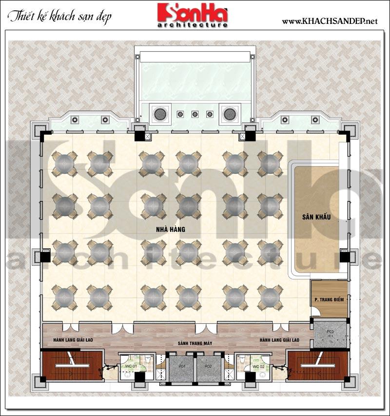 Phương án bố trí mặt bằng công năng tầng 1 khách sạn tân cổ điển 4 sao tại An Giang