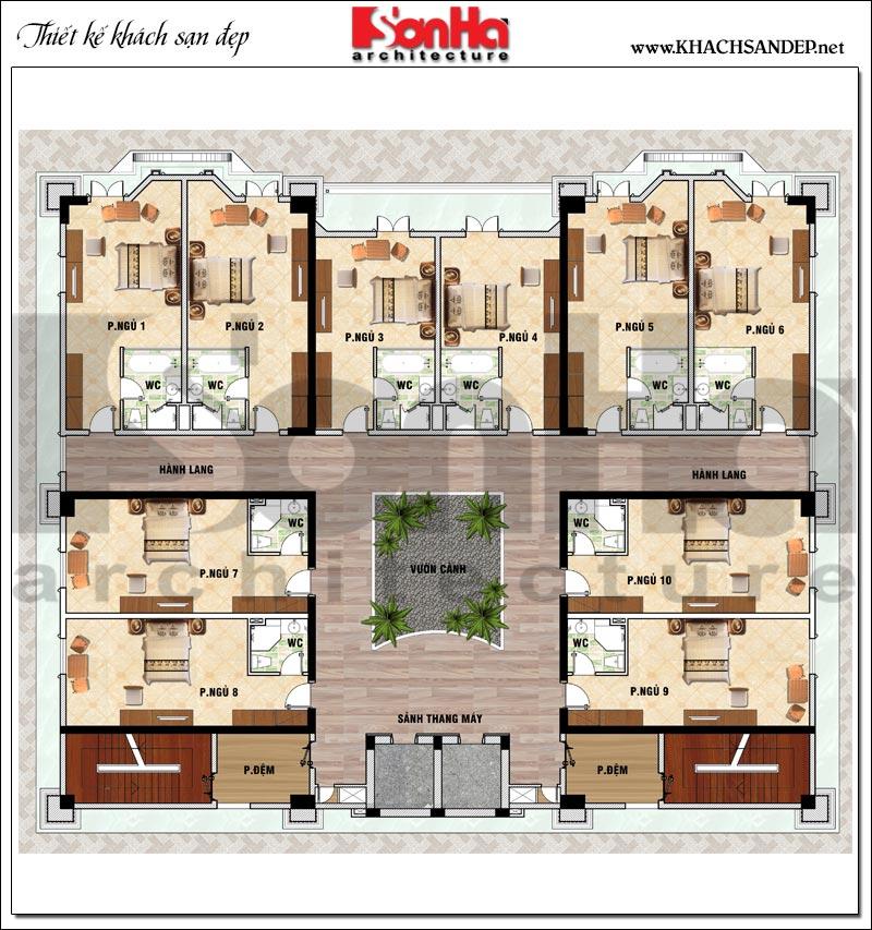 Phương án bố trí mặt bằng công năng tầng 2 khách sạn tân cổ điển 4 sao tại An Giang