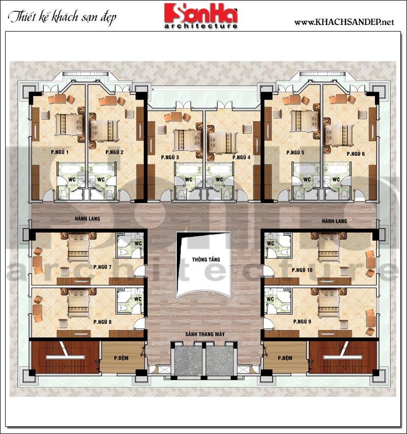 Phương án bố trí mặt bằng công năng tầng 3,4,5,6 khách sạn tân cổ điển 4 sao tại An Giang
