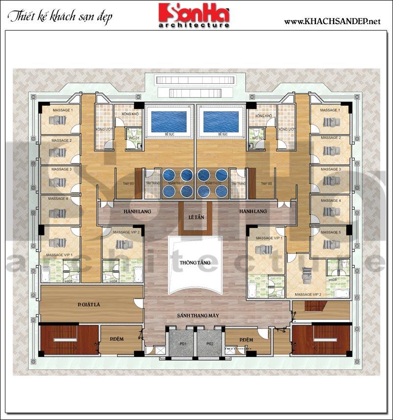 Phương án bố trí mặt bằng công năng tầng 7 khách sạn tân cổ điển 4 sao tại An Giang