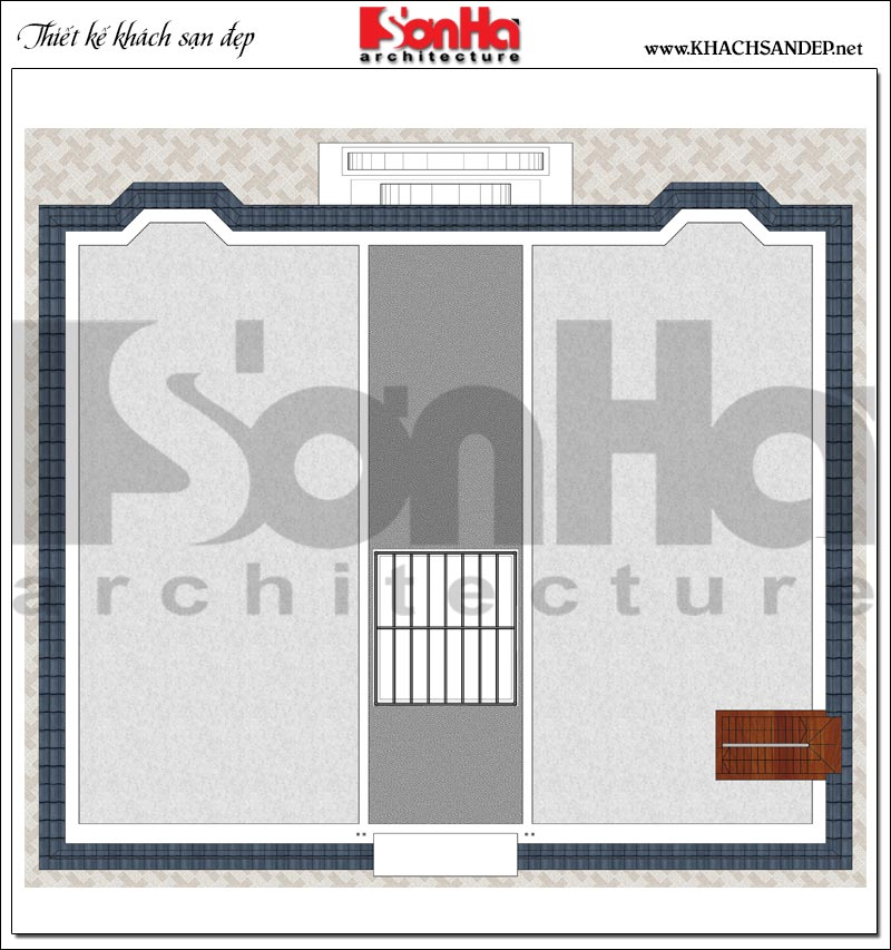Phương án bố trí mặt bằng công năng tầng mái khách sạn tân cổ điển 4 sao tại An Giang
