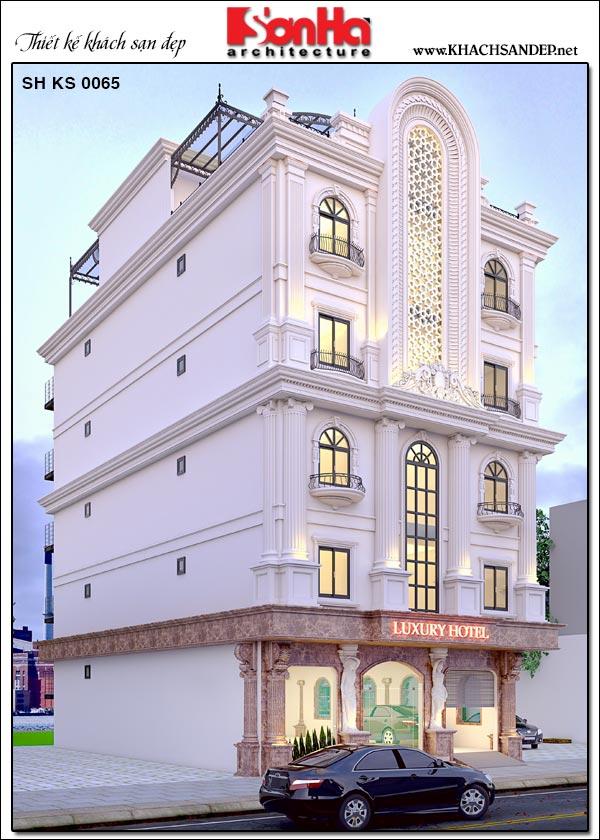 Phối cảnh tổng quát kiến trúc mặt bên khách sạn tân cổ điển mini 2 sao tại Phú Thọ