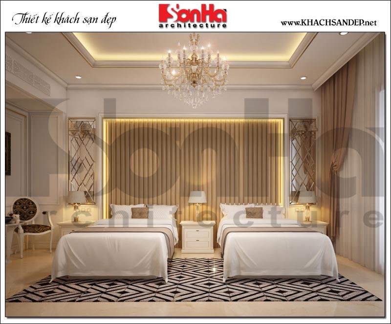 Tham khảo thêm phương án thiết kế nội thất phòng ngủ của khách sạn với 2 giường đơn tại Bắc Ninh