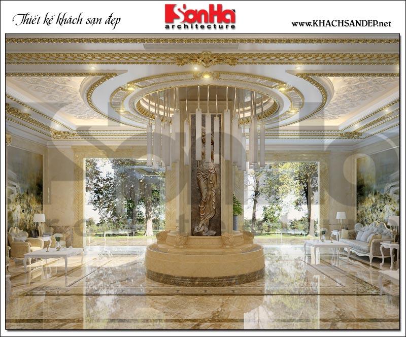 Ý tưởng trang trí nội thất sảnh khách sạn 3 sao mang hơi hướng cổ điển Pháp để lại ấn tượng với các du khách ngay từ lần đầu đặt chân