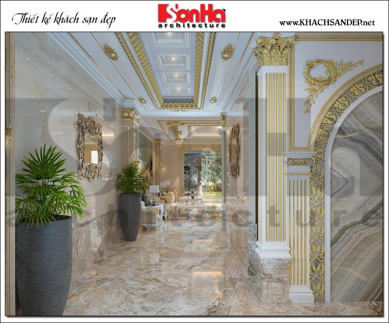 Mẫu thiết kế nội thất hành lang khách sạn kiểu Pháp rộng rãi, thoáng đãng