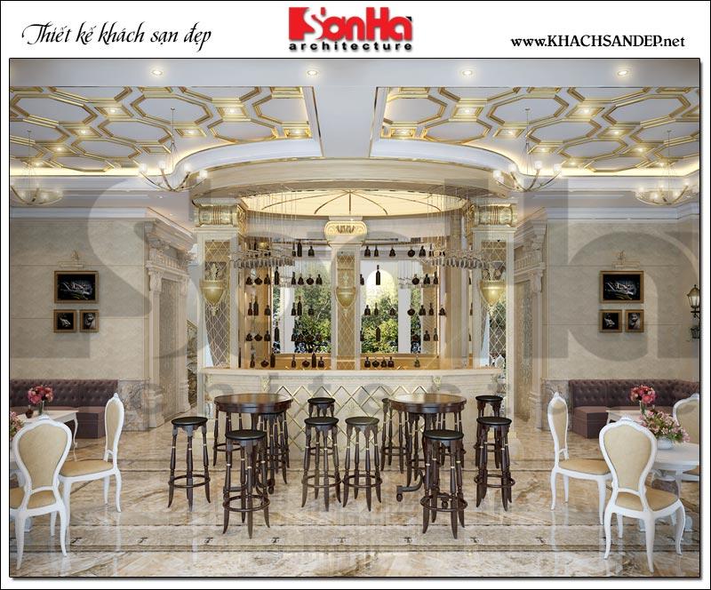 Toàn cảnh không gian nội thất khu cafe được thiết kế ngăn nắp, sạch sẽ với các giá kệ tương thích với mục đích sử dụng