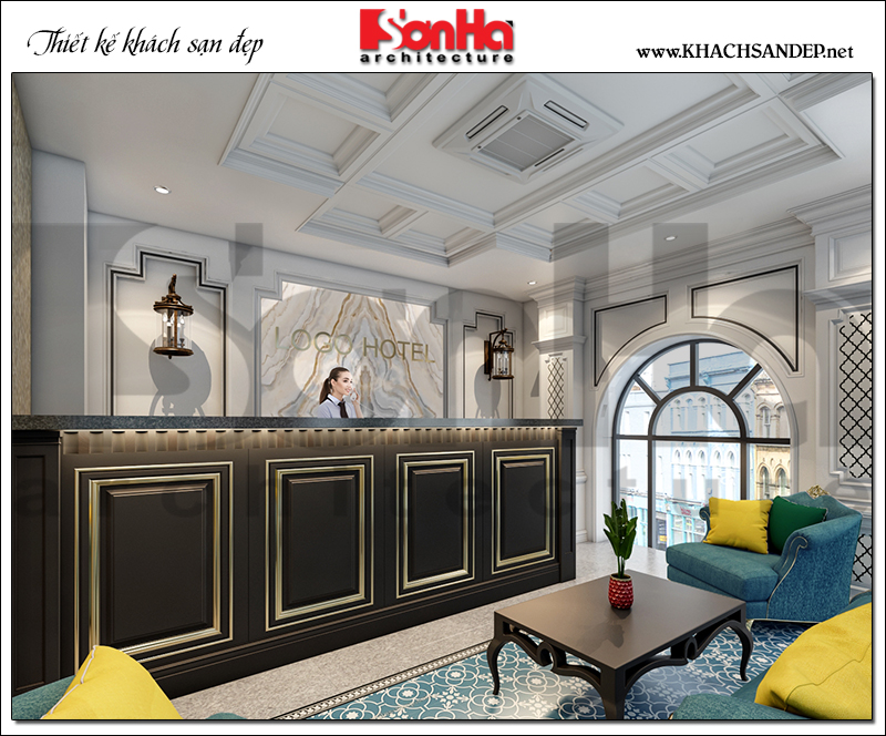 2 Trang trí nội thất sảnh lễ tân khách sạn đẹp tại quảng ninh