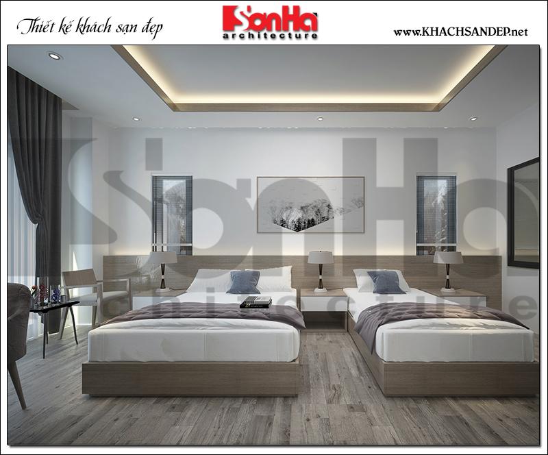 Mẫu thiết kế nội thất phòng ngủ với 2 giường rộng rãi, sở hữu góc view đẹp, lý tưởng